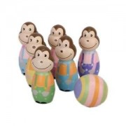Alcoa Prime Wooden 6 Monkey Bowling pin + 1 ball Set Kids Child Bowling Skittles Game Toy