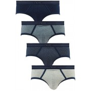 Mens Next Navy Geometric Low Rise Briefs Four Pack - Navy