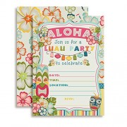 Tropical Luau Birthday Party Fill in Invitations set of 10 with envelopes Perfect for Summer and Hawaiian themed parties by Amanda Creation