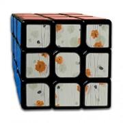 engree Custom 3x3 3x3 Magic Speed Cube Los Mejores Juguetes de Entrenamiento Cerebral 3x3x3 Orange Retro Romantic Flower Peony Speed Cube Juego de Fiesta para niños niñas niños pequeños-55 mm