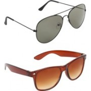 Zyaden Aviator, Wayfarer Sunglasses(Green, Brown)