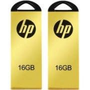 HP V225W Combo of Two 16 GB Metal Pendrives USB 2.0 Flash Drive 16 GB Pen Drive(Yellow)