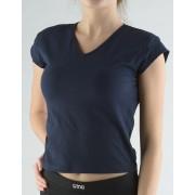 GINA Tričko s křidélkovými rukávy a V výstřihem 98022-DCM lékořice M