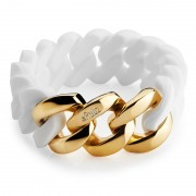 The Rubz Natural Silicone 20mm Unisex Bracelet White & Gold