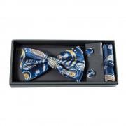 Set modern cu trei accesorii barbatesti, design albastru cu portocaliu