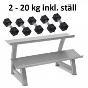 Master Fitness Gummi / Kromhantel HEX Master Fitness 2-20kg inkl. ställ