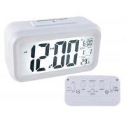 Ceas digital cu afisaj LCD, alarma, data, termometru si timer, culoare Alb