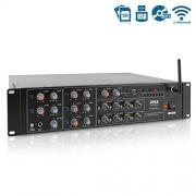 Pyle PT8050CH Amplificador de Potencia inalámbrica con Bluetooth de 8 Canales, 4000 W, Sistema de Caja de Receptor estéreo para el hogar con Monitor en Rack, multizona, con RCA, USB, AUX