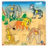 Skillofun Wooden Junior Identification Tray Wild Animals I with Knobs, Multi Color