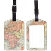 Nutcaseshop Vintage Map Luggage Tag(Multicolor)