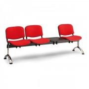 Kovo Praktik RAUMAN Čalouněné lavice VIVA, 3-sedák + stolek, chromované nohy červená