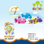 Sunlike Wind Up Swimming Floating Bath Toy Playset with Fishing Net -- Cute Cartoon Turtle and Fish