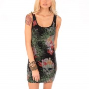 šaty dámské IRON FIST - Reina Muerte Sequin - Black