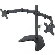 """WALI Free Standing Dual LCD Monitor Desk Mount Fully Adjustable Fits Two Screens up to 27"""", 22 lbs per Arm Capacity, With Optional Grommet Base (WL-MF002)"""