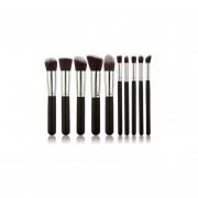 Conjunto De 10 Brochas Para Maquillaje Profecional - Negro Con Plata