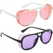 NuVew Wayfarer, Shield Sunglasses(Violet, Pink)