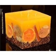 kaarsen: Fruit Kaars Vierkant Groot GEEL, 4 PITTEN, XXL