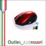 MOUSE Pc Computer MOUSE OTTICO 1600DPI MACH POWER WIRELESS ROSSO