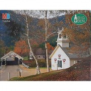Stark NH 1000 Piece Puzzle Milton Bradley Big Ben 4962-3 Covered Bridge & Church 20-1/8 x 26-3/16