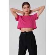 NA-KD Basic Oversized Cropped Tee - Everyday - Pink
