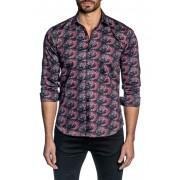 Jared Lang Berry Print Trim Fit Shirt BLACK BERRY PRINT
