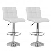 vidaXL Бар стол с висока облегалка от бяла кожа, кариран дизайн – 2 бр.