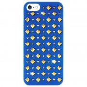 Capa com Tachas Redondas e Quadradas Puro Rock para iPhone 5 / 5S / SE - Azul