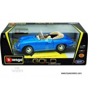12025bu Bburago Gold - Porsche 356b Cabriolet Convertible (1961, 1:18, Blue) 12025 Diecast Car Model Auto Vehicle...