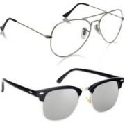 Phenomenal Aviator, Clubmaster Sunglasses(Clear, Silver)