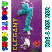 Elegant svećica broj 7 plava