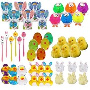 Bulk Lot of Easter Novelty Goodies for Parties, Events, Gift Set Includes 6 Bunny Ears & Bowties, 12 Rubber Ducks, 6 Bunnies, 6 Pens, 6 Chick Puffer, 6 Chick Silly Putty & 6 Peeping Chick