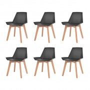 vidaXL Jídelní židle 6 ks černé plastové sedáky, bukové nohy