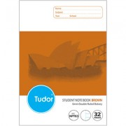 TUDOR NPT63 NSW RULING EXERCISE BOOK 32 PAGE 6MM DOUBLE RULED 250 X 175MM BROWN PACK OF 20