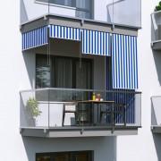 Jarolift Markiza balkonowa pionowa, Biało-niebieska, 140x240cm