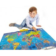 Interactive Talking World Map for Kids TG661 - Push, Learn and Discover over 1000 facts about our World ‰ÛÒ Ideal Interactive Learning Toy Gift For Boys & Girls Aged 5,6,7,8,9,10 - By ThinkGizmos