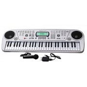 FIZZYTECH Kid's 54 Key Piano Keyboard Toy with DC Power Option, Recording and Mic - 2018 Brandstand Electronic Keyboard, Model 5407 (SILVER)