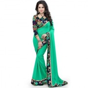 Pari Designerr Green Self Design Chiffon Saree With Blouse