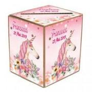 Cutie de dar si plicuri de bani tematica unicorn pentru botez
