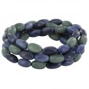 Les Poulettes Bijoux Collier ou Bracelet Elastique Graines de Tagua Dégradé Gris Bleu