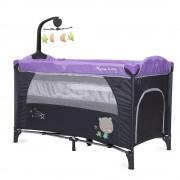 Patut pliabil cu doua nivele si mini carusel Moon Way Purple