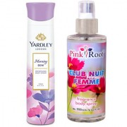 Yardley Morning Dew Refreshing Body Spray 150ml and Pink Root Club Nuit Femme Fragrance body Spray 200ml Pack of 2