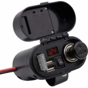 Adaptor incarcator Moto cu priza bricheta 2xUSB voltmetru si ceas 12-24V 3A