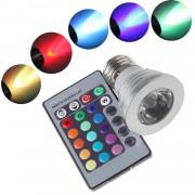 16 farebná led žiarovka E27 3W -APT
