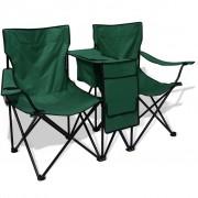 vidaXL Scaun de camping dublu, 155 x 47 84 cm, gri