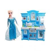 CIERN kids Frozen Barbie World Dream House Kitchen Set with Utensils (Multicolour)