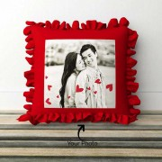 Red Square Shaped Frill Cushion With Personalized Photo