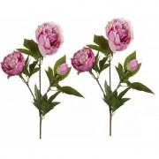 Geen 2x Roze pioenroos kunstbloem op steel 70 cm
