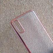 Калъф за Huawei P20 силиконов гръб прозрачен с розов кант