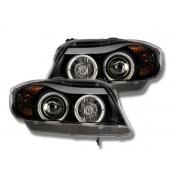 2 Phares avant BMW Serie 3 E90 E91 Angel Eyes - Noir