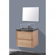 Sanilux Wood Stone 60 cm Badmeubel Eiken met 2 lades Greeploos Softclose 1 kraangat met Spiegel